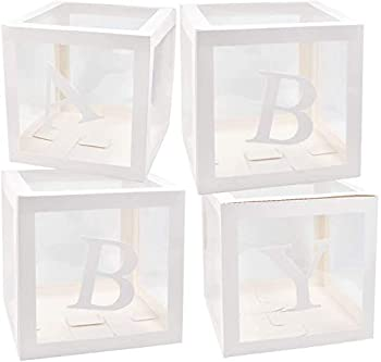 BabyShower Box Set of 4 Clear Baby Block Boxes with Baby Letters Party Decoration - Transparent Ballon Boxes Backdrop - Baby Shower & Birthday Party