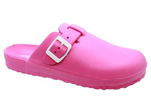 Pantolette para mujer Clogs - Pantuflas para el jardín - Calzado de baño para el tiempo libre - Cómoda hebilla - Sandalias para el tiempo libre - Talla 36-41, color Rosa, talla 37 EU