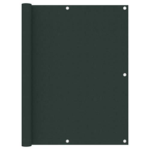 vidaXL Toldo para Balcón Parasol Pantalla Privacidad Malla Ocultación Patio Jardín Terraza Protección Impermeable Tela Oxford Verde Oscuro 120x600 cm