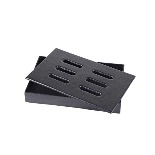 SANTOS Smokerbox Räucherbox Grillzubehör für Gasgrill, Kohlegrill und Kugelgrill | Gusseisen | Maße 20,5 x 13,0 x 3,5 cm
