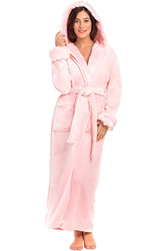 Alexander Del Rossa Women's Plush Fleece Robe with Hood, Small Medium Pink Rose Quartz with Faux Fur (A0296RSQMD)