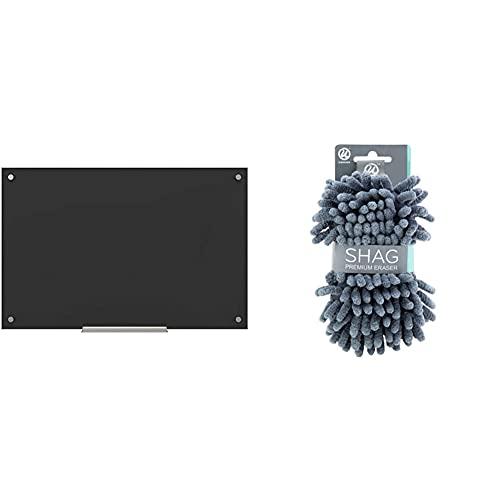 U Brands Glass Dry Erase Board, 23 x 35 Inches, Black Non-Magnetic Surface, Frameless (170U00-01) & Microfiber Shag Dry Erase Board Eraser, Washable, 1 Pack (582U04-16), Regular Size