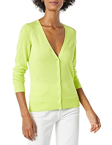 Amazon Essentials Lightweight Vee Cardigan Suéter, Verde Lima, XL