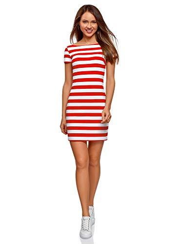 oodji Ultra Mujer Vestido Ajustado con Escote Barco, Rojo, ES 42 / L
