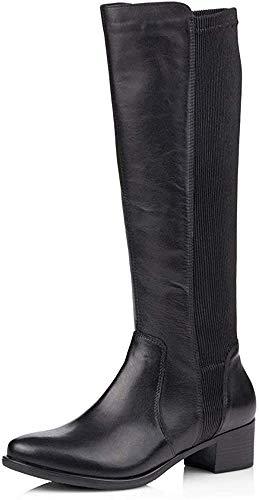 Remonte Femme Bottes, Boots R5174, Dame Bottes Classiques, Bottes,Bottes en Cuir,Bottes Longues,Fermeture éclair,Schwarz/Schwarz / 01,39 EU / 6 UK