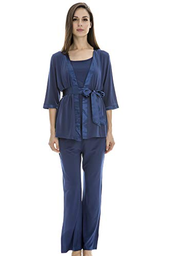 Bearsland Maternity Women's 3 Pieces Soft Nursing Pajamas Set Postpartum Sleepwear for Breastfeeding Blue