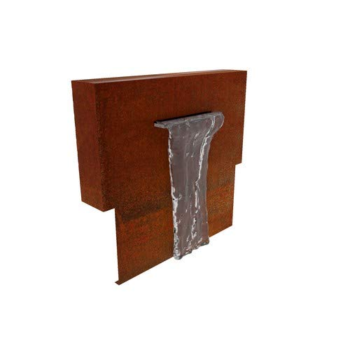 Round Wood 100cm Corten Steel Water Wall - Wefed Corten Steel Pond Wall Attachment- Water Feature - Garden Design