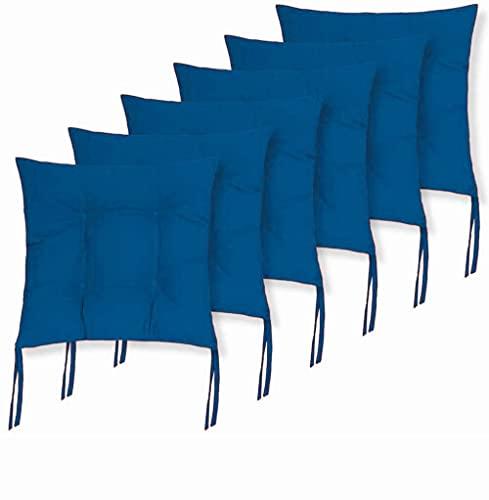 Cojines Acolchados de sillas de terraza, jardín, balcón, Cocina. Tamaño 40 x 40 x 5cm. Cojines Asiento para sillas con Cremallera. (Azul, Pack 6 Cojines)