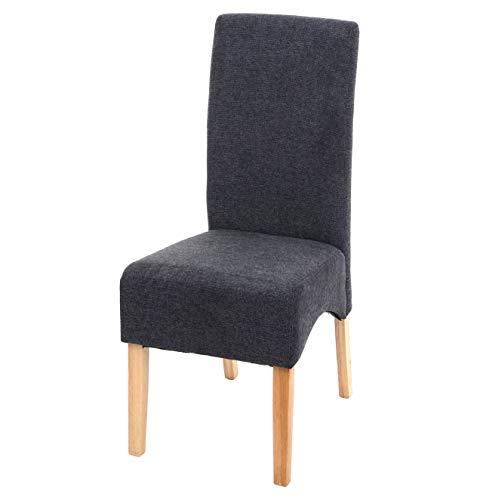 Mendler Esszimmerstuhl Latina, Küchenstuhl Stuhl, Stoff/Textil ~ dunkelgrau, helle Beine