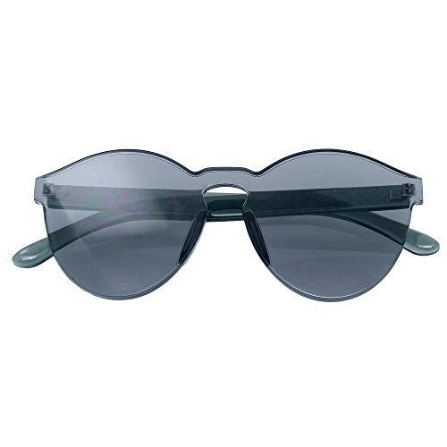 Emblem Eyewear Womens rotonda trasparente Candy occhiali da sole da sole uomo lusso 8 colori (Nero)