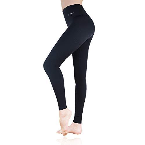CLOSKIN Damen Sport Leggings Sporthose mit hohem Bund, Ein perfekter Po in Senkunden (M)