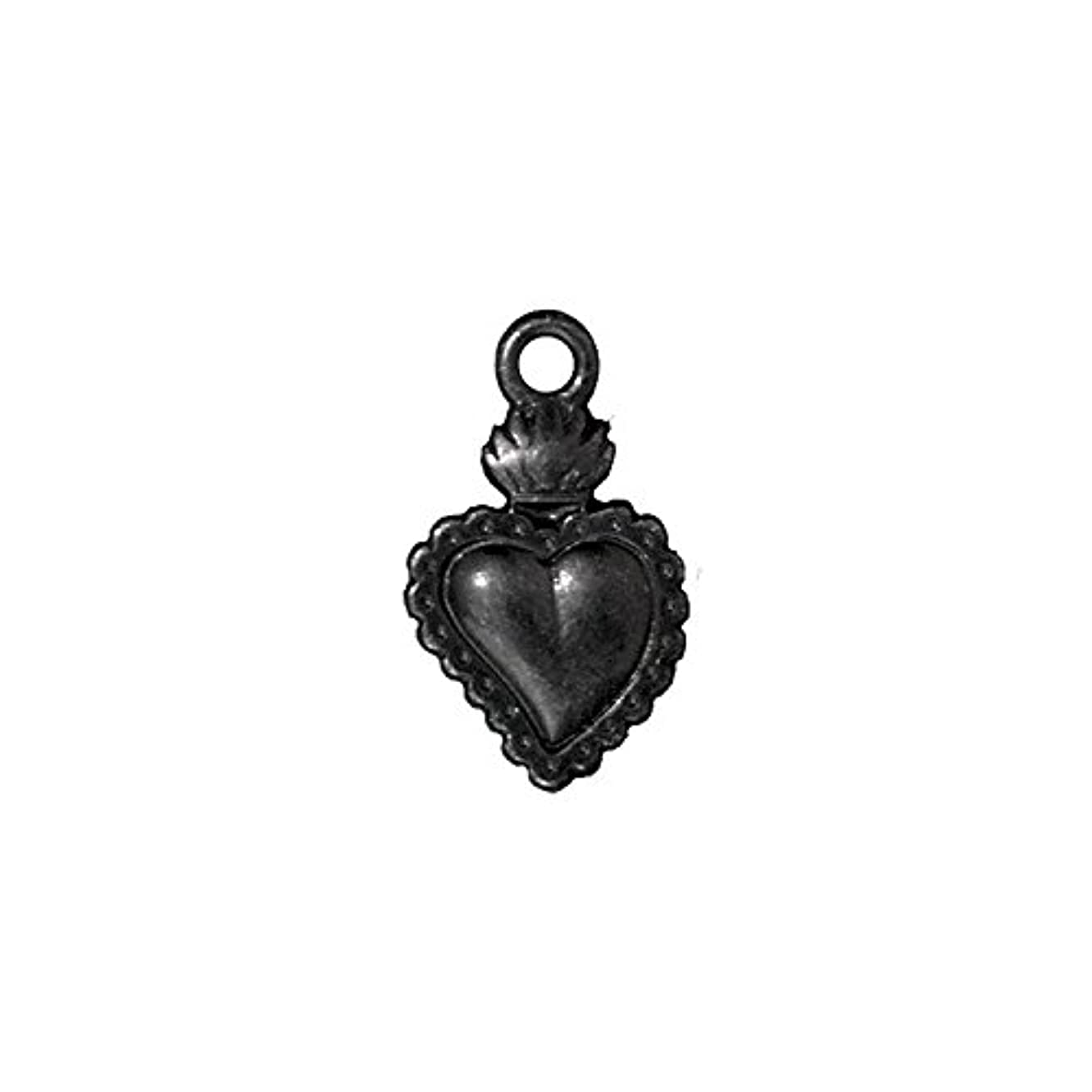 TierraCast Heart Milagro, 21.5mm, Black/Gunmetal Finish Pewter, 4-Pack
