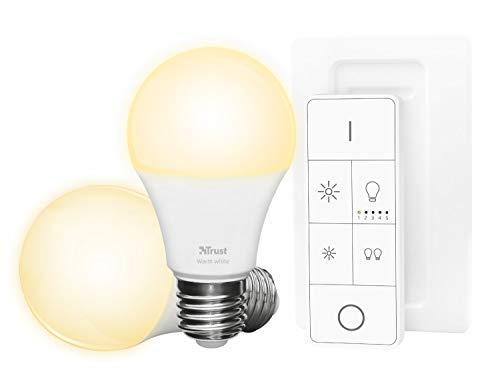 Trust Smart Home Zigbee E27 White LED Lampe Starterset ZLED-2709R (zwei Lampen inkl. Fernbedienung, kompatibel mit Philips Hue*, dimmbar, warmweißes Licht 2700K) [Energieklasse A+]