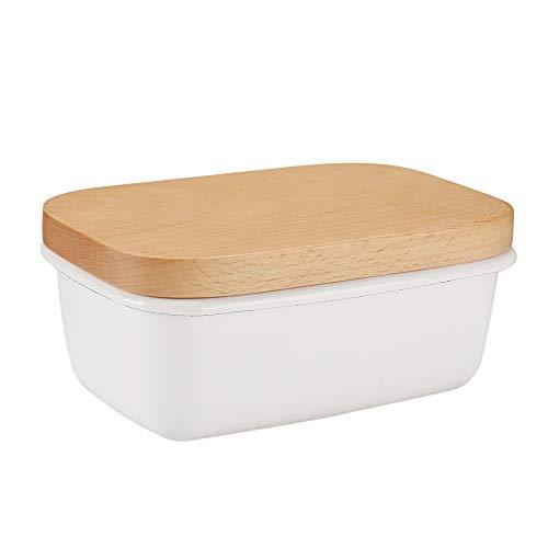 G.a HOMEFAVOR Emaille Butterdose mit Holzdeckel Multi-Funktion Butterschale,15 x 10 x 6.3 cm, Weiß