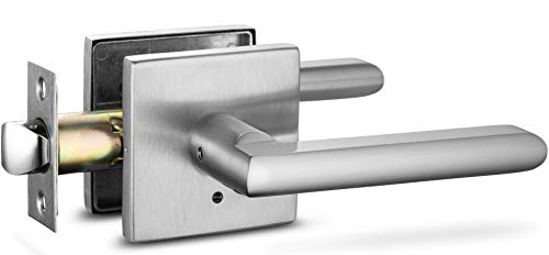 Berlin Modisch Privacy Lever Door Handle Slim Square Easy to Open Locking Lever Set [for Bedroom or Bathroom] Reversible for Right & Left Sided Doors Heavy Duty - Satin Nickel Finish