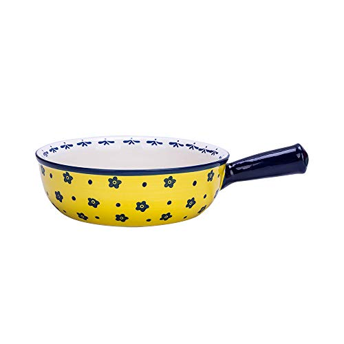 MDZF SWEET HOME Ceramic Baking Bowl with Handle French Onion Soup Bowl Roasting Lasagna Pan Round Bakeware Suitable for Oven, Yellow Flower
