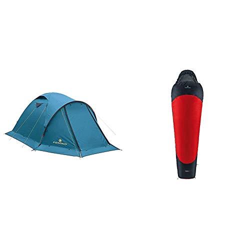 Ferrino Skykline, Tenda a Cupola Campeggio, Blu, 3 Persone & Yukon Pro, Sacco a pelo Uomo, Rosso Scuro, S