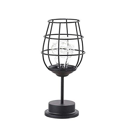's nachts licht lamp' s nachts licht voor Kid Usb Retro Classic Iron Art LED Table leeslamp Night Light Bedroom Lamp Desk Verlichting Home Decoration, lampenkap Style: Rode wijnglas