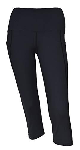 Private Island Women Side Pockets Plus Size UPF 50+ Swim Capri Pants Rash Guard (XXXL, Black)