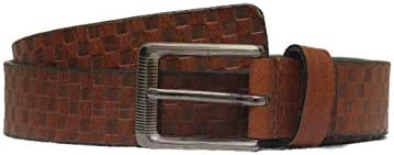 MNH Men's Genuine Leather Checkered Belt