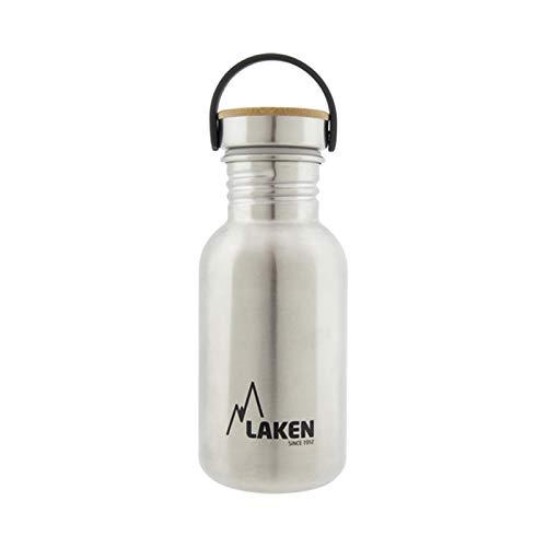 Laken Unisex - Botella de acero inoxidable muy robusta para adultos, 0,35 l, color plateado