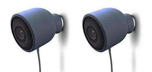 Fundas de Silicona de Color para cámara de Seguridad de Exterior Nest CAM - Protege y camufla, Resistentes a Rayos UV e Impermeables - Wesserstein (2 Pack, Azul)