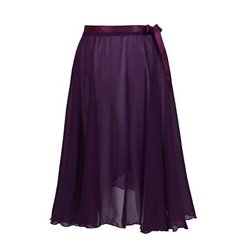 TiaoBug Falda de Ballet Mujeres Bailarinas Falda Larga de Gasa con Cinturilla Ajustable Envoltura para Bodies Gimnasia Niñas Mujeres Deep Purple One Size