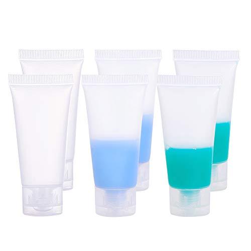 BENECREAT 30 Pack 20ml Bottiglie Morbido Tubo Invertito Trasparente Cosmetic Tube Copertura di Vibrazione del Lozione Shampoo Crema, Bianco