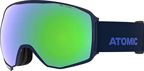 Atomic, All Mountain-Skibrille, Unisex, Für wolkiges bis sonniges Wetter, Large Fit, Sphärische Scheibe, Count 360° Stereo, Blau/Grün Stereo, AN5106028