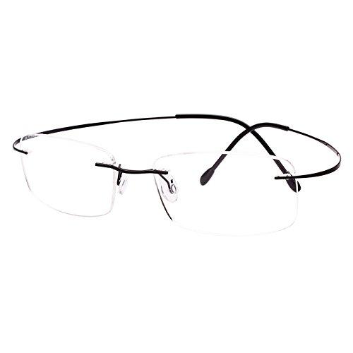Agstum Titanium Rimless Flexible Frame Hingeless Optical Eyeglasses Clear Lens (Black, Non-Prescription Clear Lens / 55)