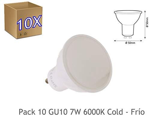 JANDEI - 10x Bombilla led GU10 de 7W equivalente a 50W, 120º de apertura, en blanco frio 6000K de 50x50mm marco blanco (6000K Frío)