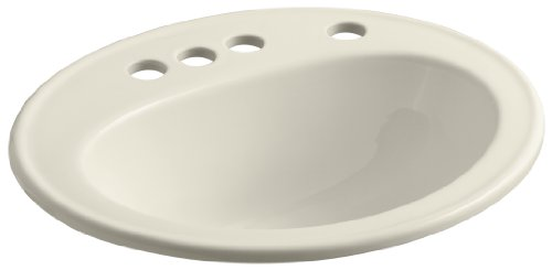 "KOHLER K-2196-4K-47 Pennington Self-Rimming Bathroom Sink with 4"" Centers, Right-Hand Soap/Lotion Dispenser Hole Drilling and Sealed Overflow, Almond"