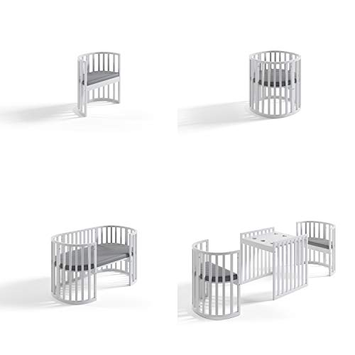 BEQOONI® 7in1 Babybett | Umwandelbar zu Gitterbett/Beistellbett/Laufstall/Laufgitter/Wickeltisch/Stühle und Kindertisch | inkl. Matraze | Weiß