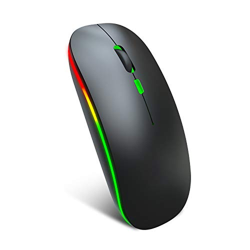 Zienstar-Bluetooth & 2.4G Wireless Rechargeable Mice,Dual-Mode,Silent Click with RGB Backlit for Laptop/PC/MacBook pro/iPad OS 13/MacBook Air/Desktop/Windows Linux -Black