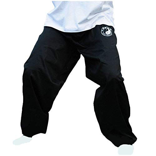 Kampfsport Taiji Training Hose - Chinesische Kampfkunst Chenjiagou Tai Chi Kung Fu Qigong Shaolin Weite Beine Knickerbocker Graziöse Uniform für Damen Herren - Baumwolle (L)