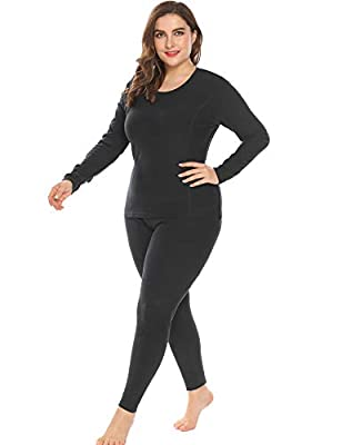 IN'VOLAND Women's Plus Size Thermal Underwear Fleece Lined Long Johns Set Winter Top&Pants Pajama Black