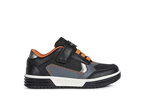 Geox Niños Zapatillas ARGONAT Boy,Chico Bajo,Zapato bajo,Calzado Deportivo,Cierre de Velcro,Removable Insole,Black/Orange,30 EU/11.5 UK Child
