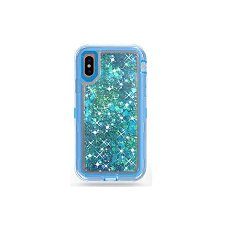 #N/D Liquid Bling Case Quicksand Cascata Antiurto Glitter Robot Heavy Duty Lucido Bumper Cover Morbida Trasparente per iPhone X - Blu