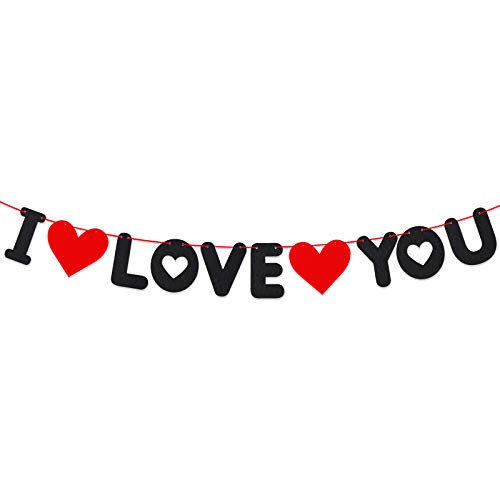 I Love You Felt Banner Letters Bunting Valentine Decoration Red Heart Garlands for Mother's Day Anniversary Engagement Weddings Decor Photo Props and Party Supplies