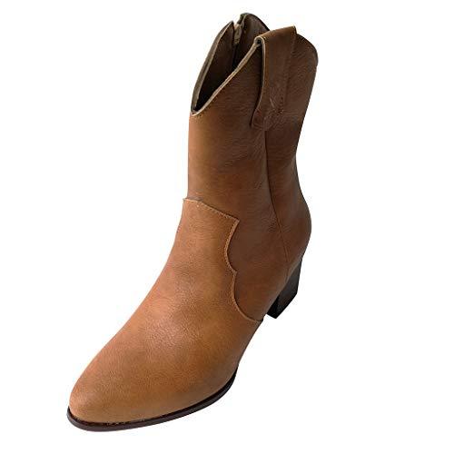 KonJin Damen Stiefel Stiefeletten Frauen Stiefel Boot Halbstiefel Damenstiefelette Bootie...