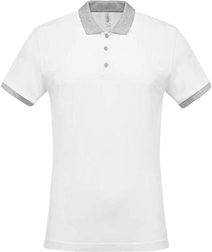 Kariban Polo piqué Bicolore Homme - White/Oxford Grey, XL, Homme