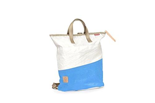 360° Ketsch Mini Rucksacktasche aus Segeltuch mit Schultergurt, Recycling Seesack Shopper Bag, Schultertasche Hobo Bag für Shopping und Strand, Rucksack weiß, Balken Cyan