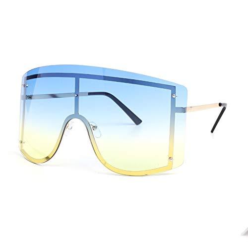 Gafas de Sol Gafas De Sol De Gran Tamaño para Mujer, Azul, Amarillo, Degradado, Moda, Sin Montura, Metal, Sombras Femeninas, Gafas con Personalidad, 10 Azul Y Amarillo