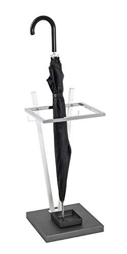 HAKU Möbel Schirmständer, Stahlrohr, weiß-anthrazit-Chrom, 25 x 25 x 55