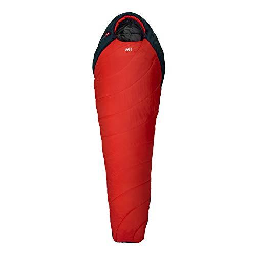 Millet - Baikal 1100 Reg - Sac de Couchage Adulte avec Sac de Compression – Synthétique – Équipement Outdoor 3 Saisons (Confort 5°C) - Longueur : 215 cm - Rouge