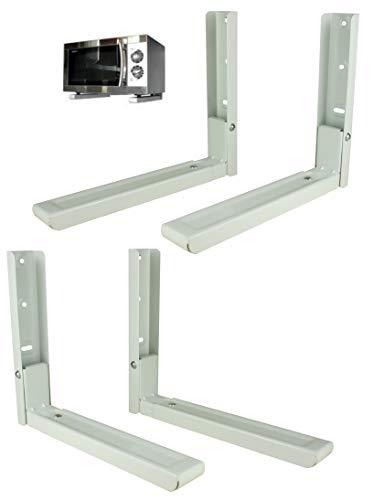 Bayli 2er Set Mikrowellenhalterung Ausziehbar 31-47,5cm | Microwelle Tragkraft 40kg | Halter für Mikrowelle | Küchenregal | Mini Backofen Halterung | Wandbefestigung | Küchengeräte Regal