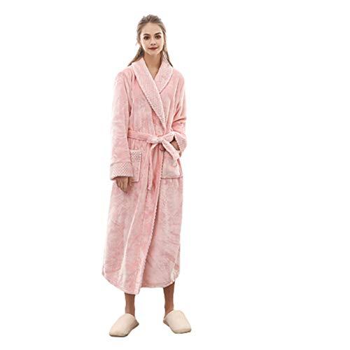 Clásico Unisex Albornoz -Pijamas de pareja-Mujer Ducha Invierno Franela-Batas de Polar Cómodo y Suave para Hombre Mujer-Bata de Estar por Casa Ropa de Dormir Talla Grande,Albornoces
