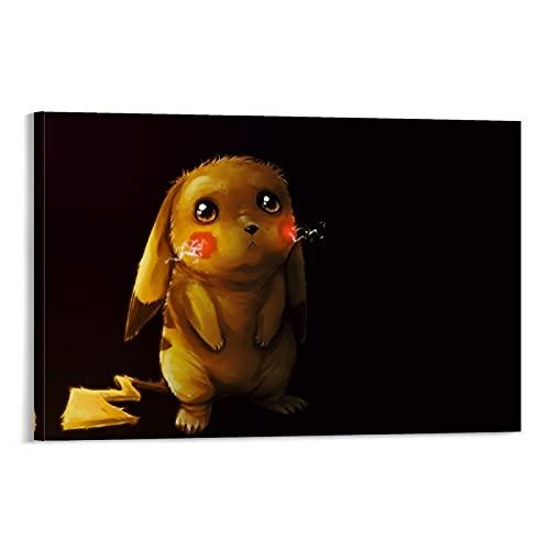 LINFENGAS Póster de Pokemon Detective Pikachu Decoración de Habitación (2) Póster de Anime en Lienzo y Arte de la Pared Impresión Moderna de la Decoración de Dormitorio Familiar Carteles de 50 x 75 cm