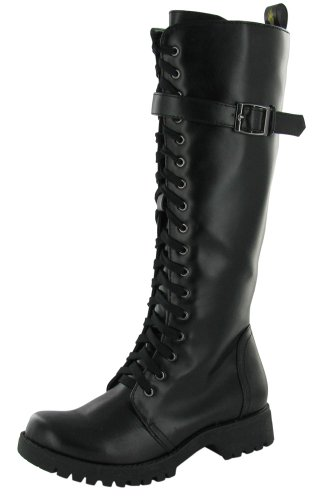 VOLATILE Combat Women's Boots Knee High Faux Leather Vegan Shoes Size 8 Midnight Black