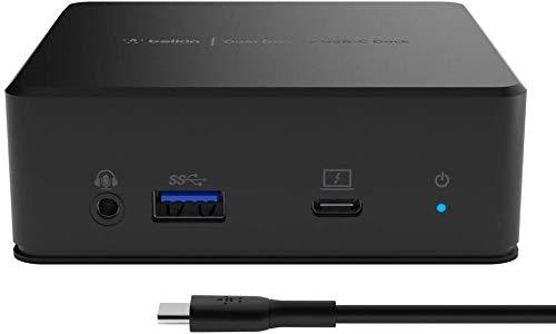 Belkin Station d'accueil USB-C double-affichage (Power Delivery 85 W, HDMI, USB-A 3.1 1ère gén., USB-C, Gigabit Ethernet, entrée et sortie audio pour MacBook, XPS, autre ordinateur USB-C)